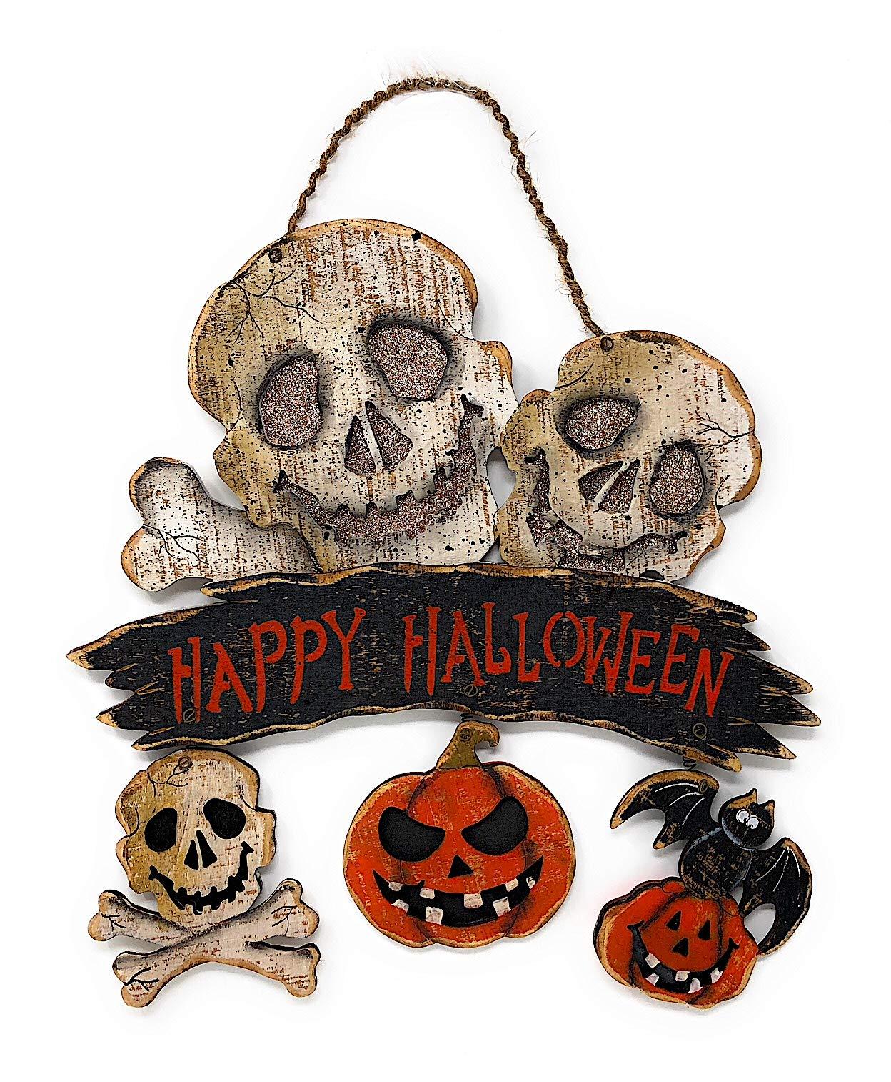 Transpac Halloween Halloween Decoration Wall Front Door Wreath Hanging Wood Decor Indoor Outdoor 12'' x 16'' (Skulls)