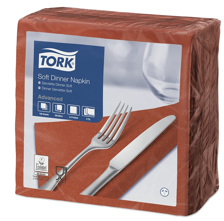 Tork 477914 Soft Blue Green Dinner Napkin / 3 Ply Advanced, Unprinted Serviette in Teal / 12 x 100 Sheets (WxL: 19.5cm x 19.5cm)