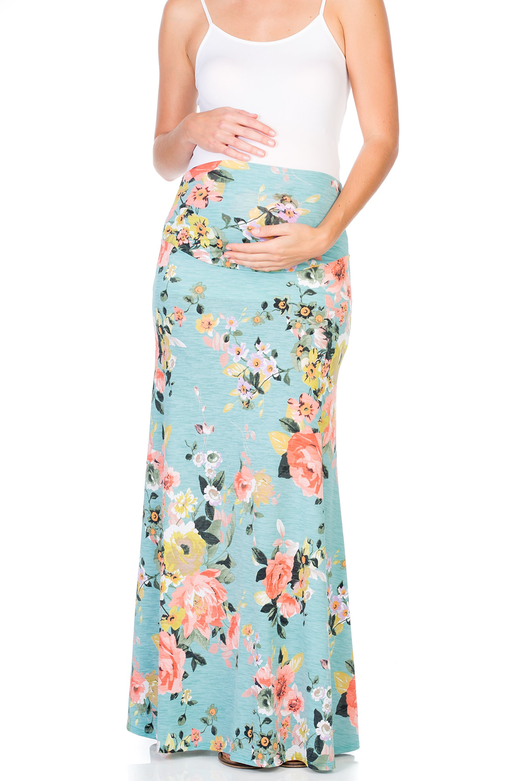 My Bump Women's Maternity Maxi Skirt with Tummy Control(Made in U.S.A) (Medium, Mint Flower)