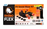 Camco RhinoFLEX 20-Foot RV Sewer Hose Kit, Includes Swivel Fittings and Transparent Elbow with 4-In-1 Dump Station Fitting, Storage Caps Included