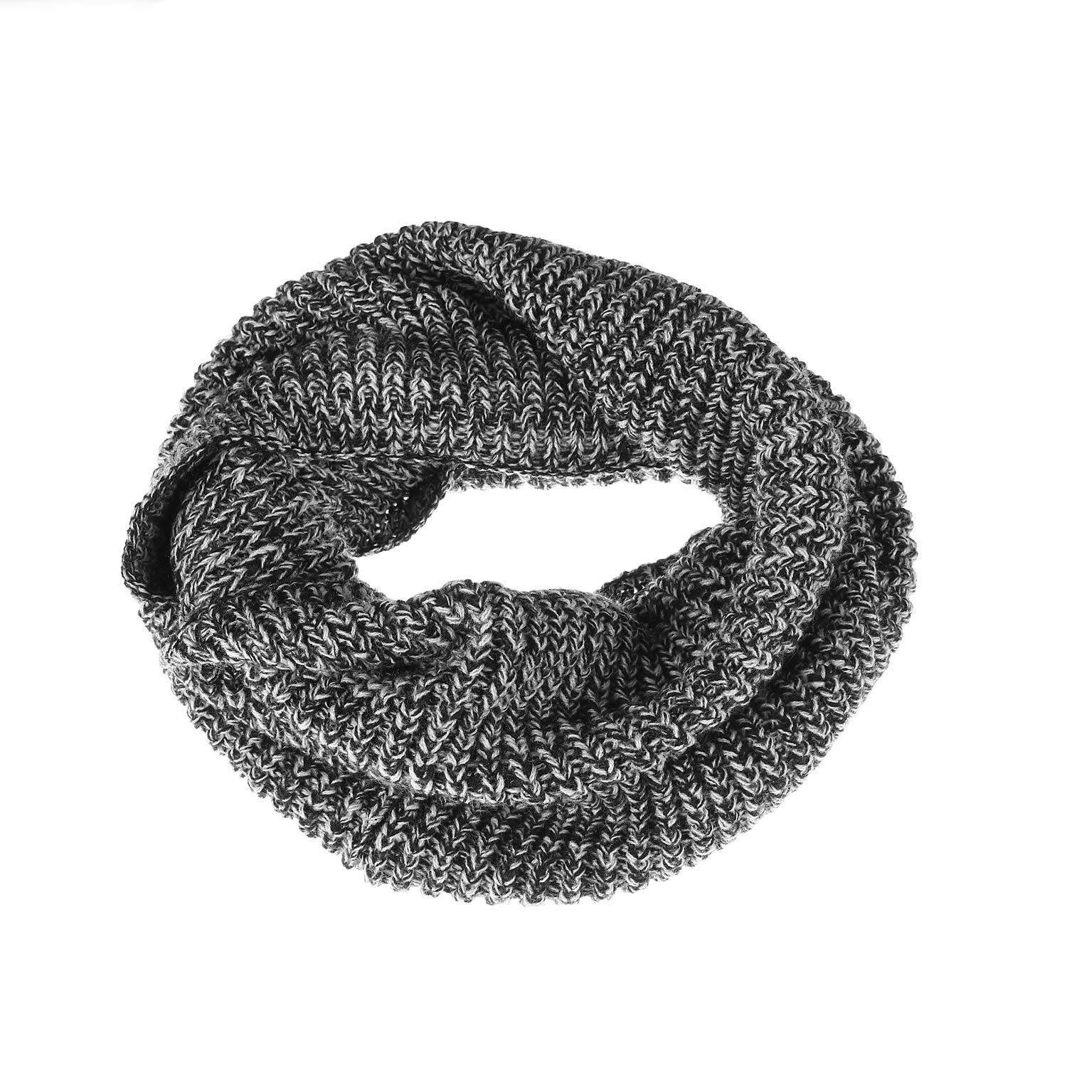 Black White Mix Winter Knit Infinity ScarfMen&Women Thick Warm Circle Loop Scarf Neck Warmer by Aurya
