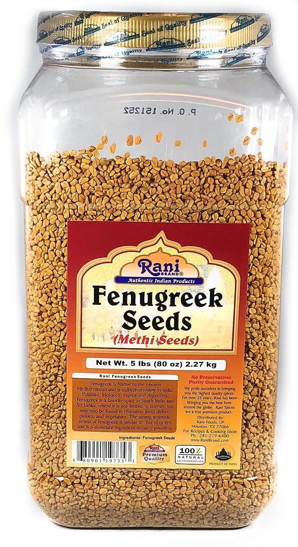 Rani Fenugreek (Methi) Seeds Whole 5lbs (80oz) Trigonella foenum graecum |  Gluten