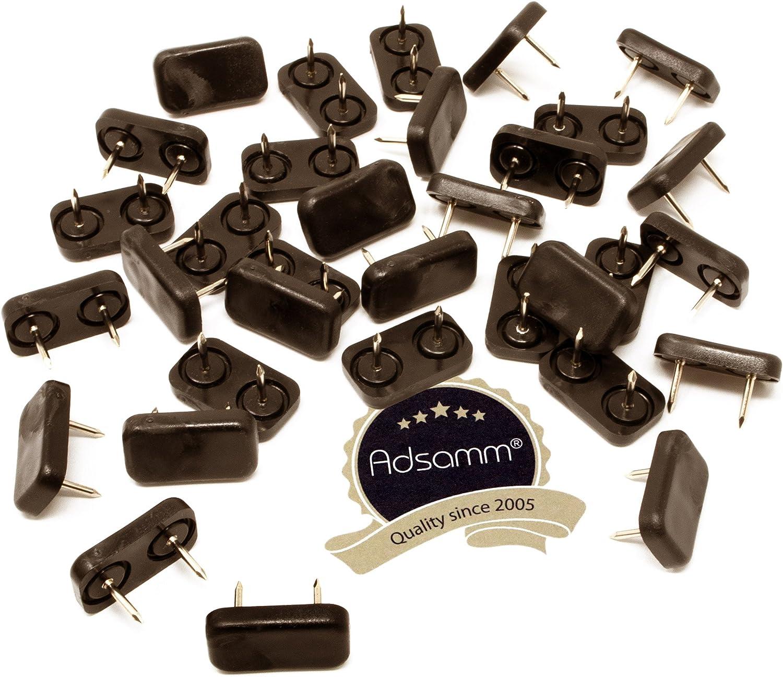 marrone piedini mobili con chiodo di premio qualit/à di Adsamm/® rettangolari 32 x Scivoli in plastica con chiodo 18x44 mm