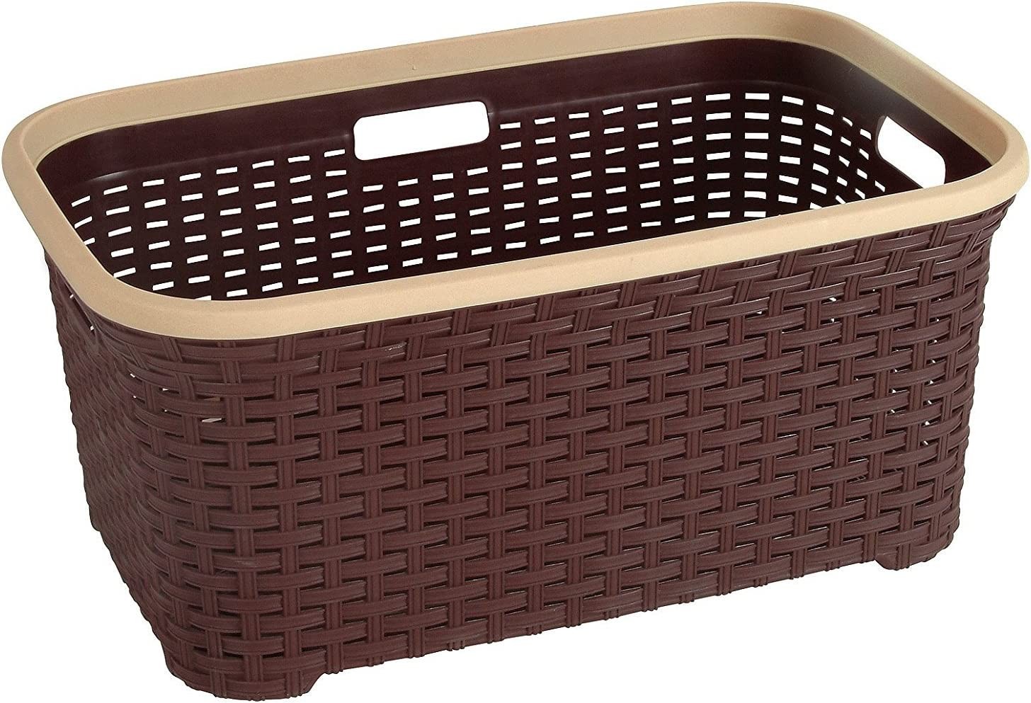 Rattan (Wicker Style) 1.4 Bushel Laundry Basket (Brown)