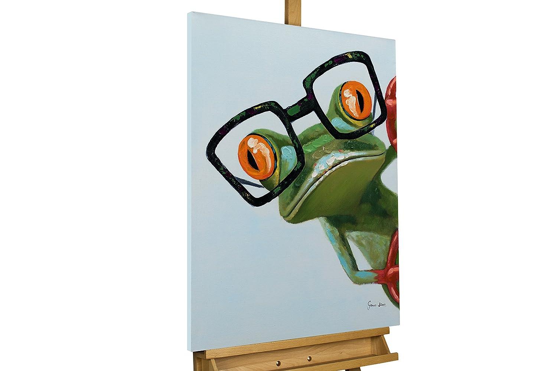 KunstLoft® KunstLoft® KunstLoft® Acryl Gemälde 'Funky Frog' 60x80cm   original handgemalte Leinwand Bilder XXL   Frosch Brille Grün Lustig Deko   Wandbild Acrylbild Moderne Kunst einteilig mit Rahmen 0c2206