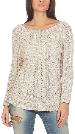 online retailer cbbfc 09a49 Malito Damen Pullover mit Zopfmuster | Longsleeve in Grobstrick |  Strickpullover aus Wolle - Rundhals - Oberteil - 7319