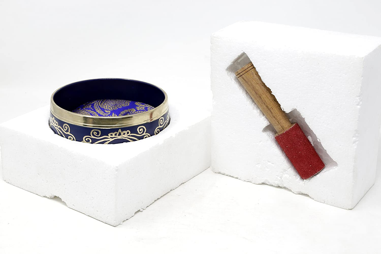 Ayurveda /& Yoga 5 Inches Tuned to the 6th Chakra Third Eye Chakra Ideal for Meditations Fine Quality Brass ShalinIndia Ajna Indigo Buddhist Singing Bowl