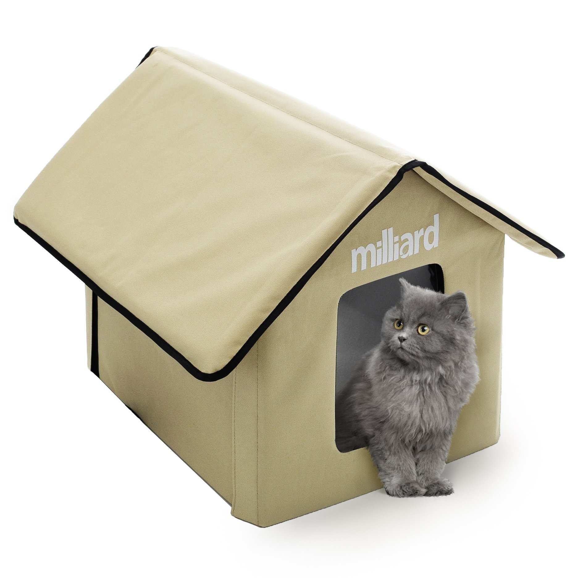 Milliard Outdoor Cat House for Your Pet Kitty or Puppy; Perfect Portable Bed Cave or Shelter, 22 x 18 x 17 in by Milliard