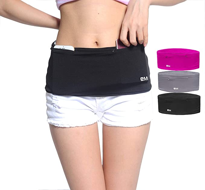 EAZYMATE Fashion Running Belt - Travel Money Belt with Zipper Pockets Fit All Smartphones and Passport - Black-S best travel belts