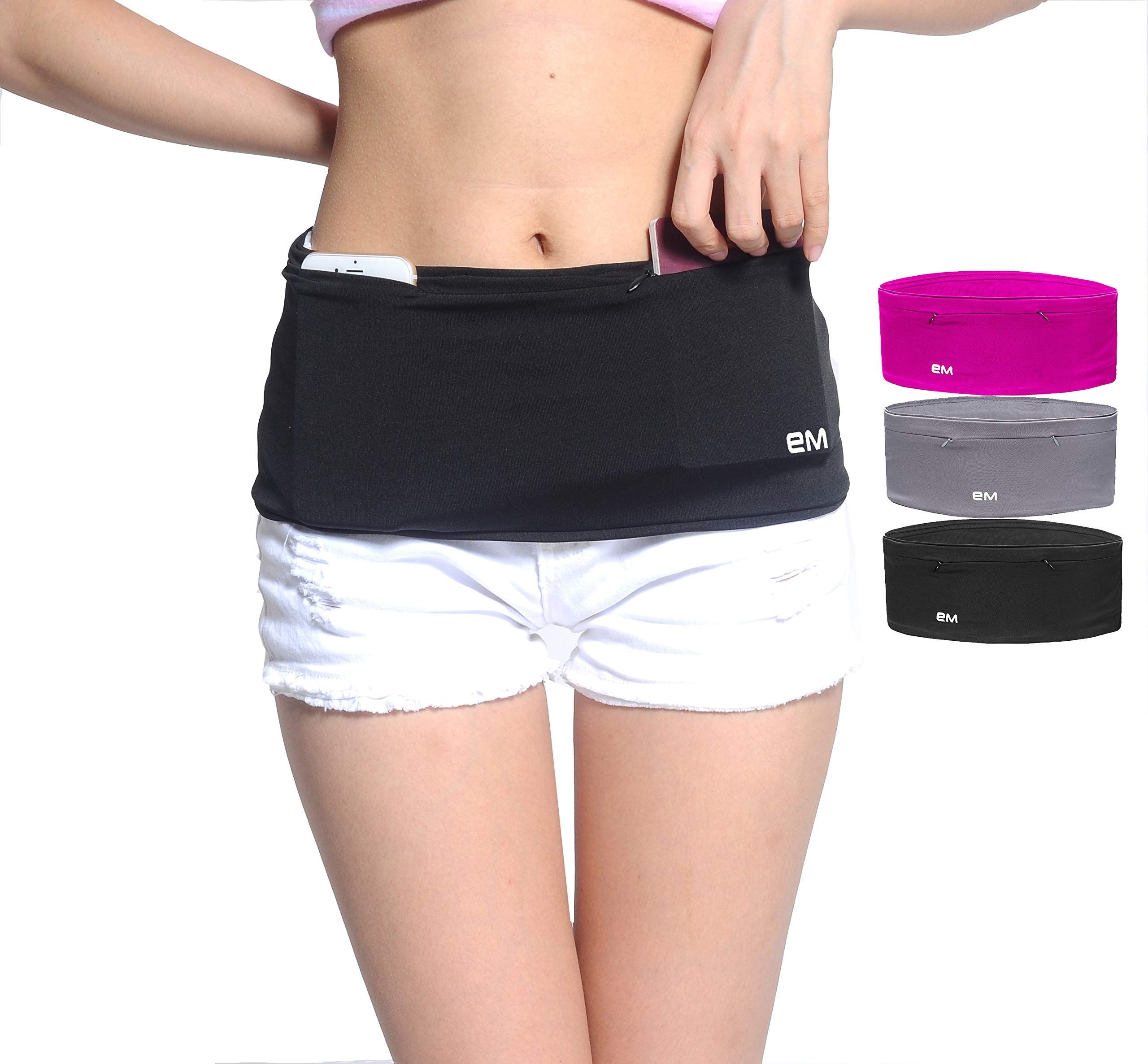 EAZYMATE Fashion Running Belt - Travel Money Belt with Zipper Pockets Fit All Smartphones and Passport (Two Zip Pockets Black, XX-Large)