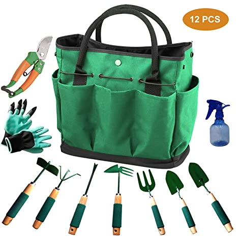 Urban Deco Gardening Tools 12 Pieces Garden Tools Set Durable Hand Tools Kit with 600D Canvas Tote Heavy Duty Gardening Work Set with Garden Gloves-Perfect Gardening Tools for Women Men