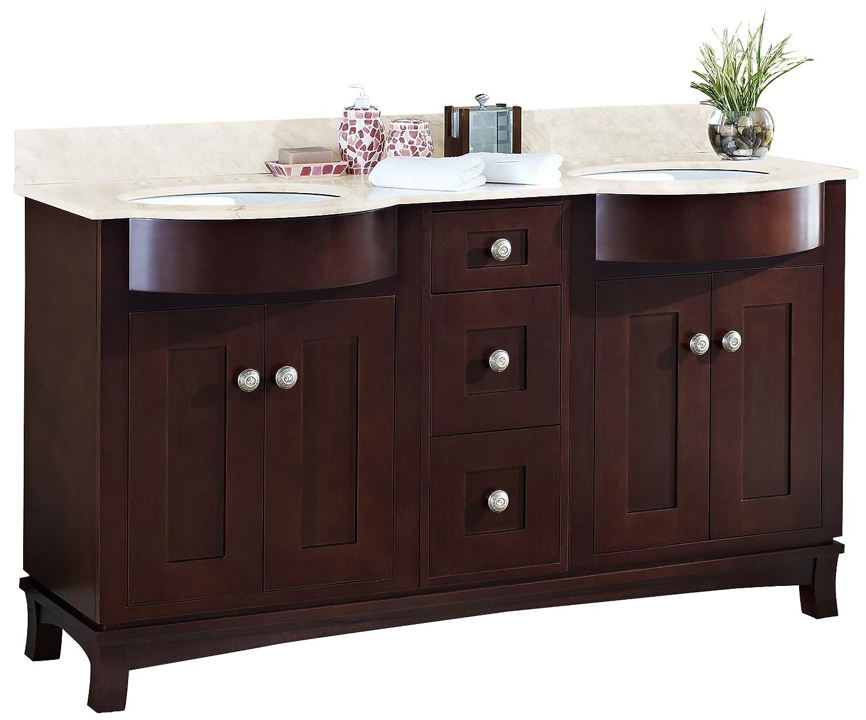"cheap Jade Bath JB-18524 60"" W x 22"" D Transitional Birch Wood-Veneer Vanity Base Set Only, Coffee"