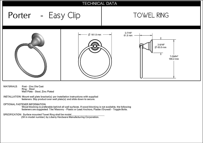 Delta PTR46-BN Porter Bath Hardware Accessory Towel Ring SpotShield Brushed Nickel