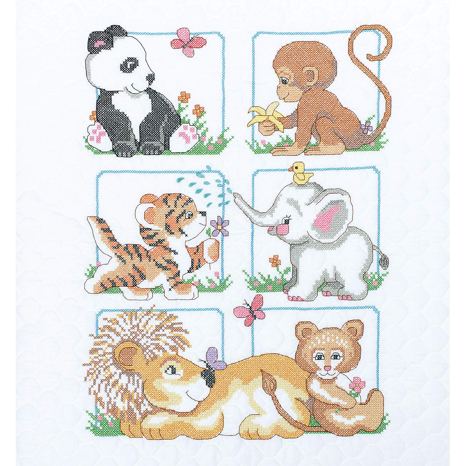 Dimensions Stamped Cross Stitch Baby Animals DIY Baby Quilt Kit, 34'' x 43'' by Dimensions