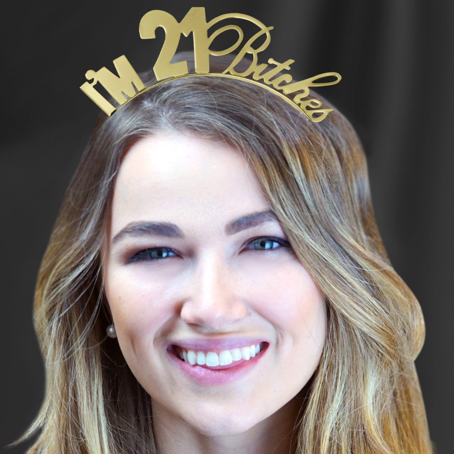 I'm 21 Bitches Rhinestone Gold Satin Sash & Gold Headband Tiara - 21st Birthday Gift Set Supplies – Gold by RhinestoneSash (Image #2)