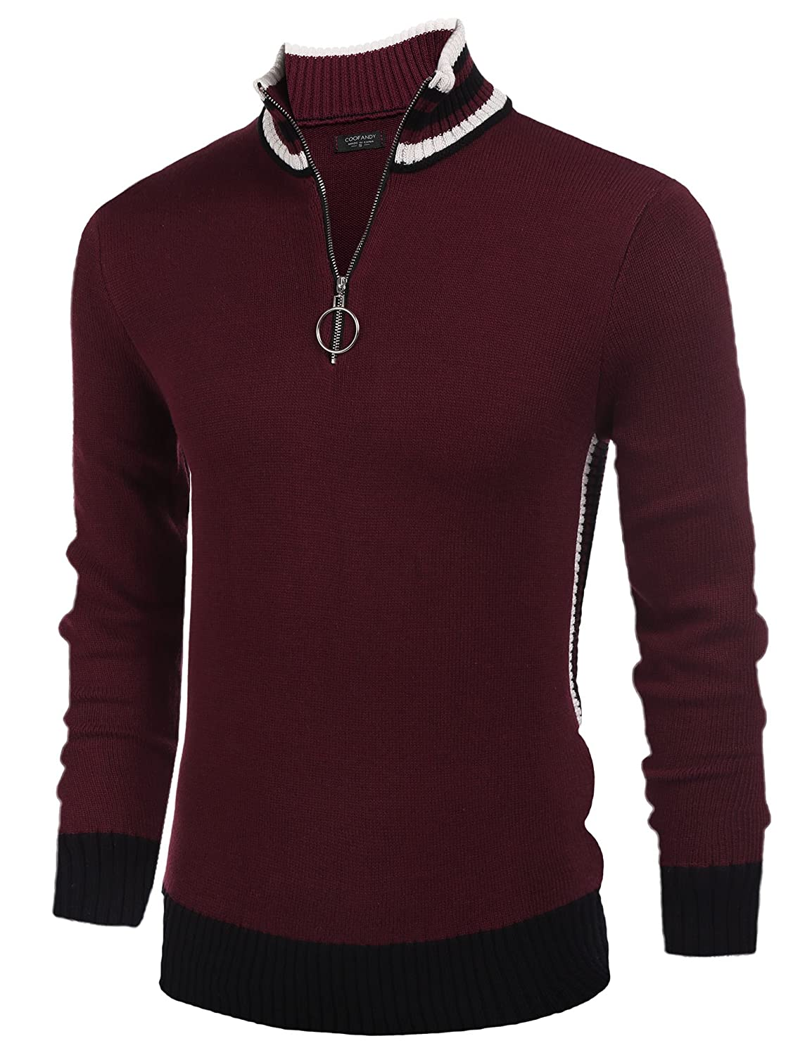 COOFANDY Men's Casual Quarter Zip Pullover Sweater Slim Fit Long Sleeve Polo Sweaters HM0818