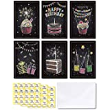 Ohuhu Happy Birthday Gift Cards, 48 Assorted Folded Kids Birthday Greeting Blank Note Cards W/ 48 White Envelopes and 48…