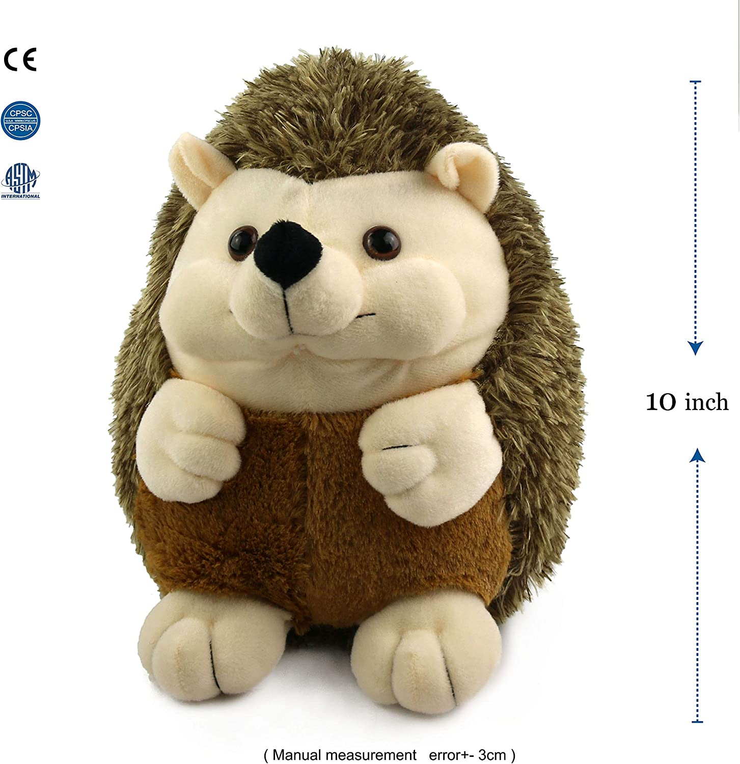 Houwsbaby Realistic Hedgehog Plush Lifelike Wildlife Stuffed Animal Plush Toys Gift for Kids Companion Holiday Birthday, Brown,10''