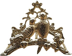 Qparts Solid Brass Birds Hose Holder, Garden Decor, Wall Mounted Hose Hanger Rack (Polished Brass)
