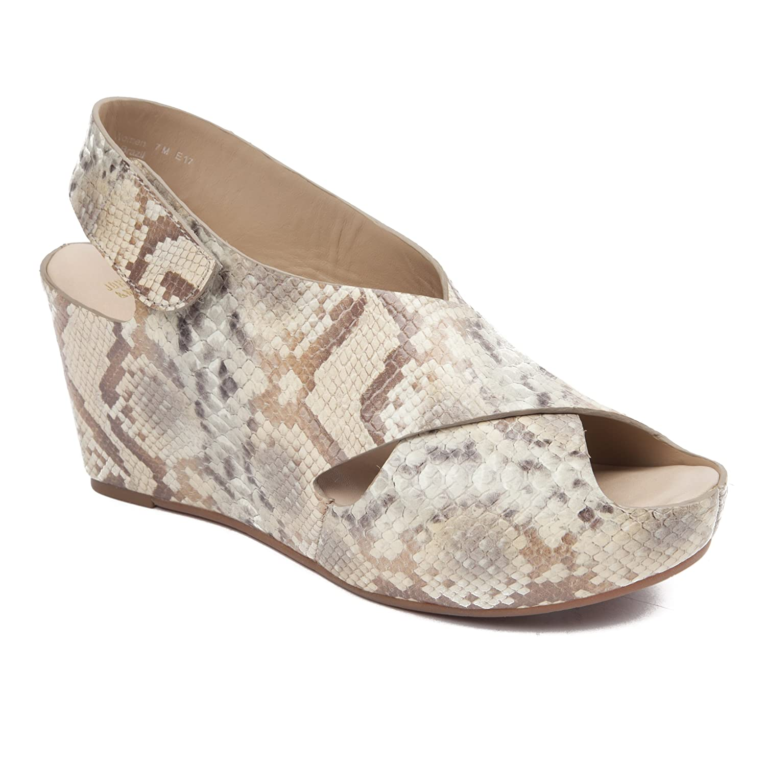 Johnston & Murphy Women's Tori Cross Strap Wedge Taupe Snake Print Leather B079TVVTJJ 7.5 B(M) US|Taupe Snake Print Leather