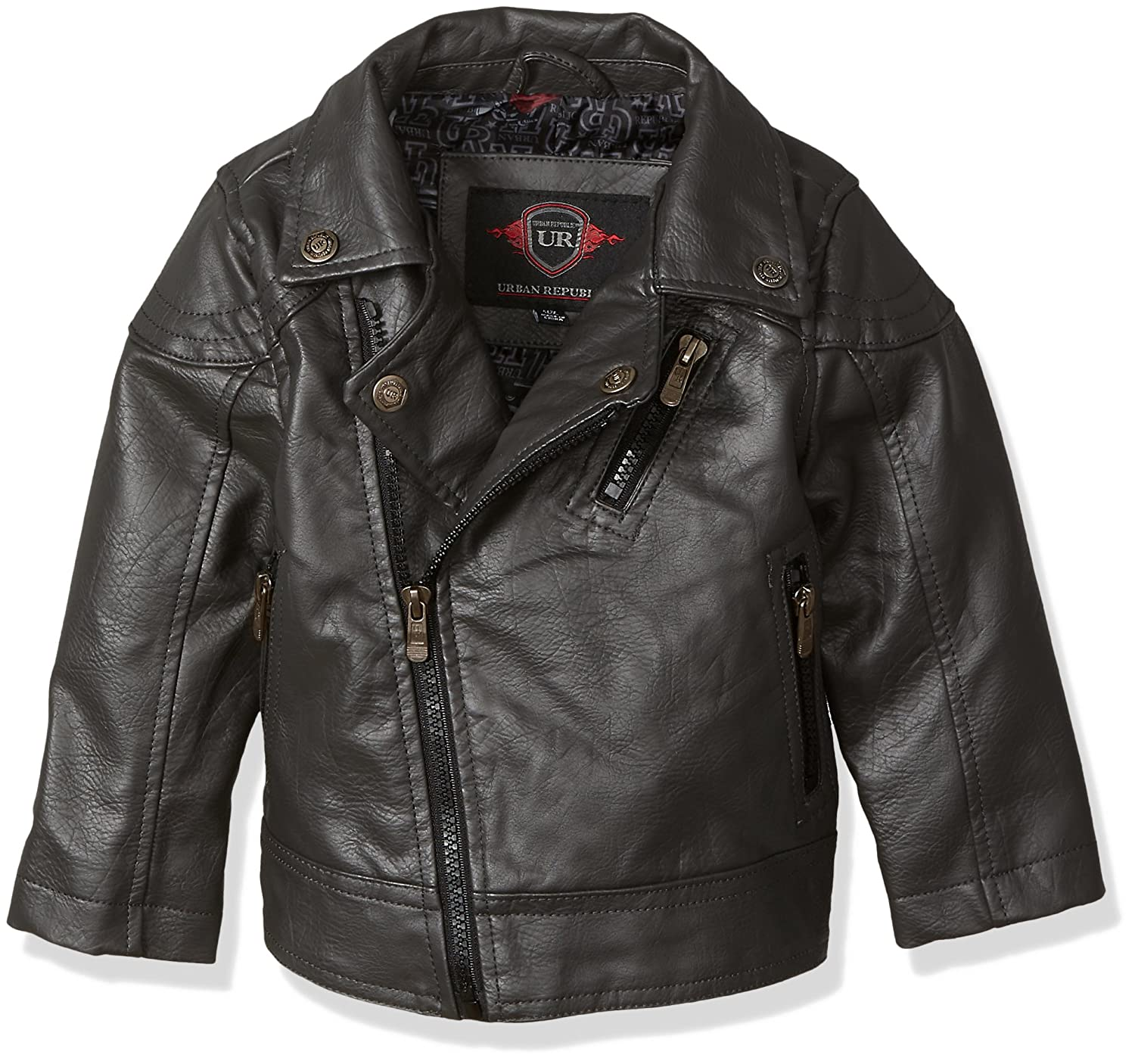 Urban Republic Baby Boys Artsy Faux Leather Azymetrical Moto Jacket