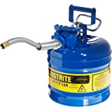 "Justrite 7220320 AccuFlow 2 Gallon, 9.50"" OD x 13.25"" H Galvanized Steel Type II Blue Safety Can With 5/8"" Flexible Spout"