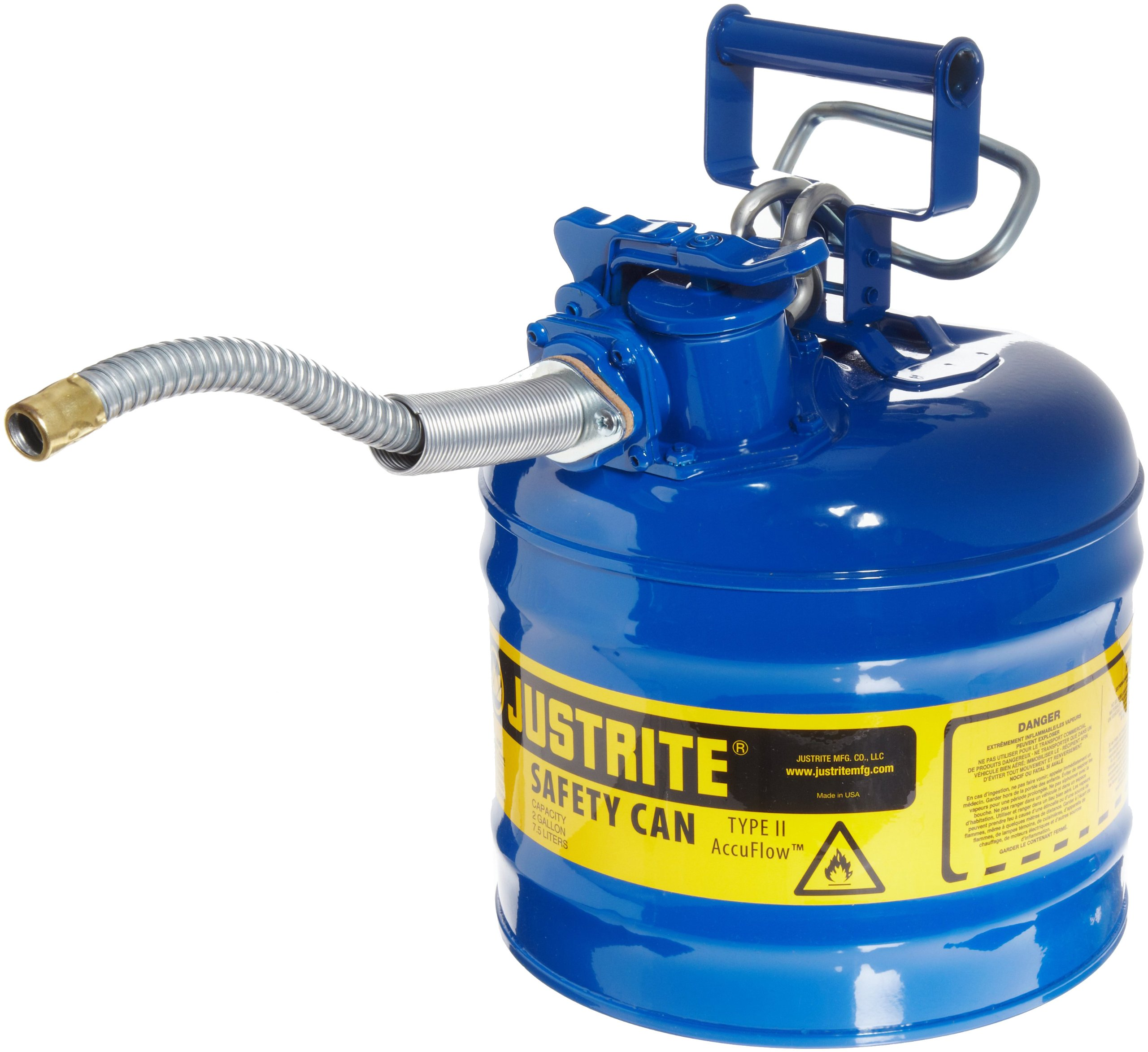 Justrite 7220320 AccuFlow 2 Gallon, 9.50'' OD x 13.25'' H Galvanized Steel Type II Blue Safety Can With 5/8'' Flexible Spout