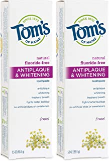 product image for Tom's of Maine Fluoride-Free Antiplaque & Whitening Toothpaste, Natural Toothpaste, (683398) Fennel, 5.5 Ounce, (Pack of 2), 11 Ounce