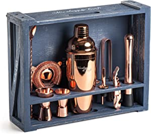 Mixology Bartender Kit: 11-Piece Bar Tool Set with Rustic Wood Stand | Perfect Home Bartending Kit and Cocktail Shaker Set For an Awesome Drink Mixing Experience (Copper)