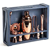 Mixology Bartender Kit: 11-Piece Copper Bar Set Cocktail Shaker Set with Rustic...
