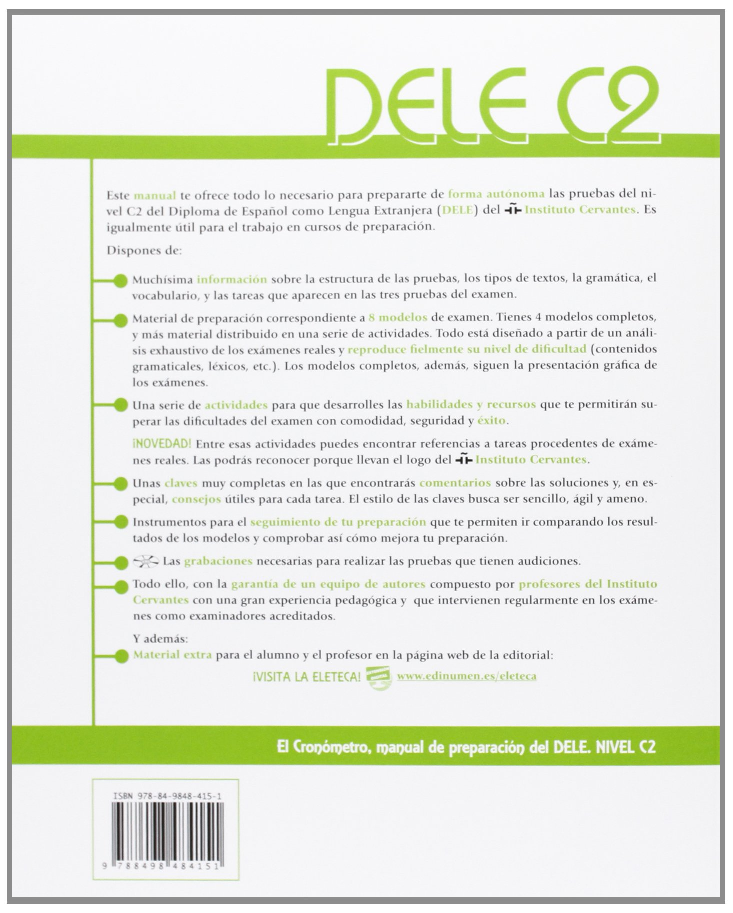El cronometro / The Timer: Manual de preparacion del DELE. Nivel C2 (Superior) / DELE Preparation Manual. Level C2 (Superior) (Spanish Edition): Alejandro ...