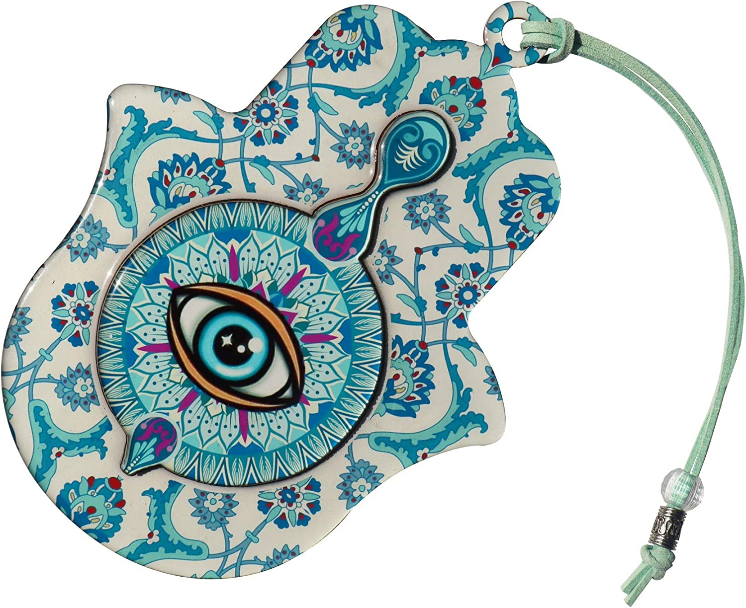 "ClipGrip Hamsa Wall Decor | Hand of Fatima Hanging Priestly Blessing Evil Eye Protection for Home & Gift (6.5"" - Blue Eye)"
