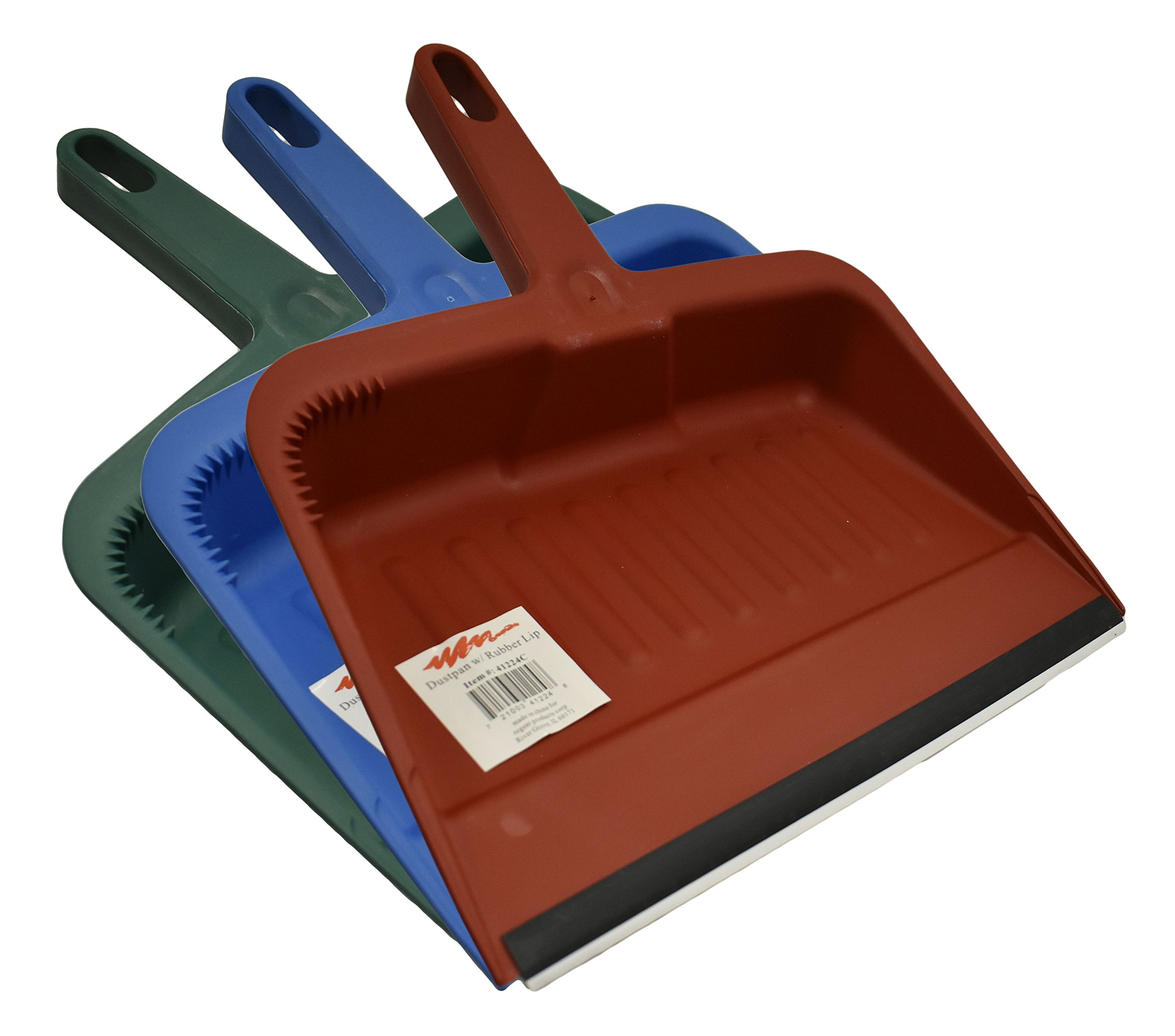 Set of Heavy Duty Deep Dustpans! Rubber Lip - 12'' - Deep Dustpans Perfect for any Office, Home, or Workplace! (3, Assorted)