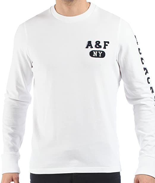 Abercrombie & Fitch - Suéter manga larga de hombre - Logotipo A&F New York - Blanco