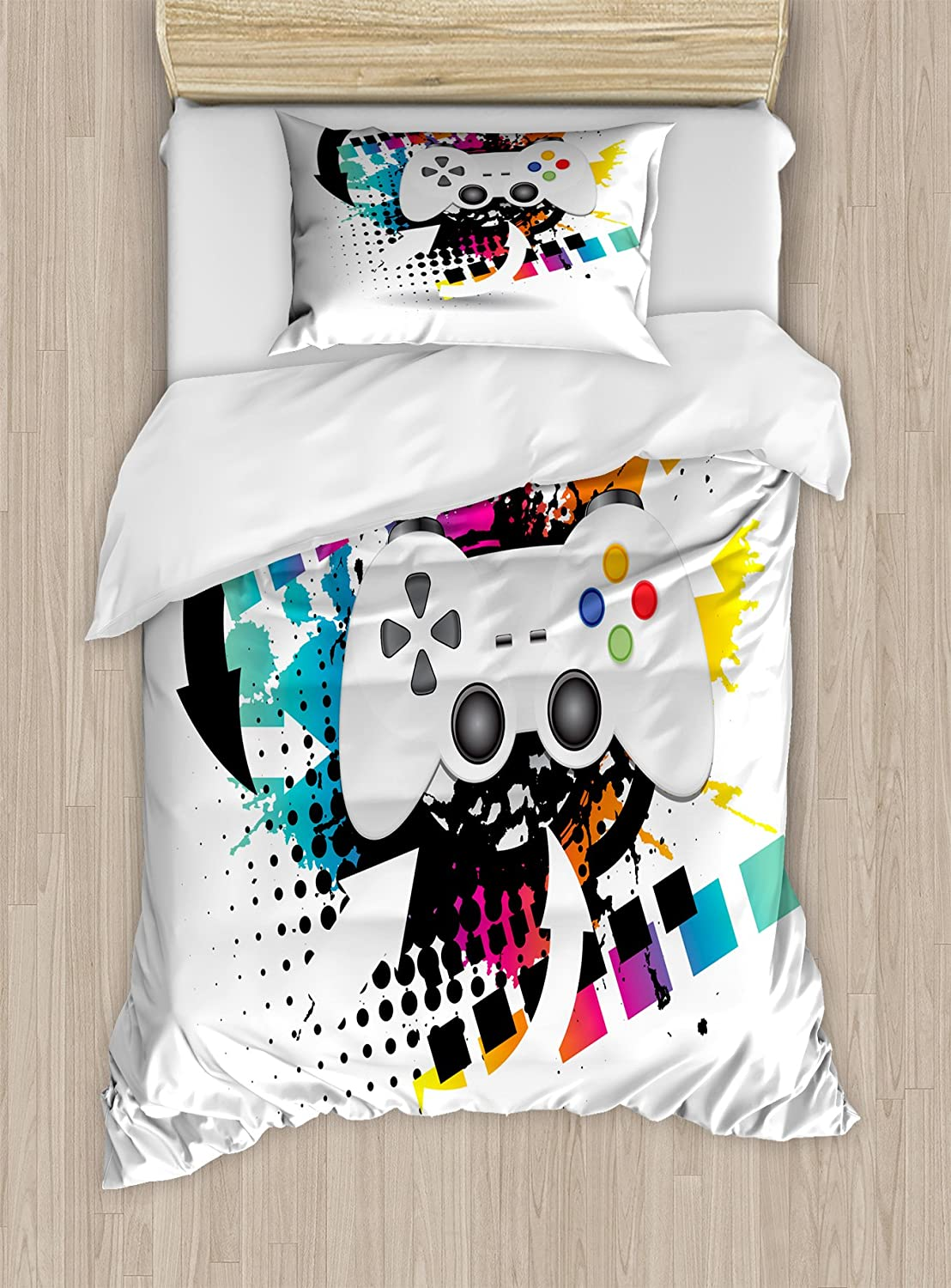 Lunarable Gamer Duvet Cover Set, Modern Console Game Controller with Halftone Motif and Color Splashes Background, Decorative 2 Piece Bedding Set with 1 Pillow Sham, Twin Size, Grey