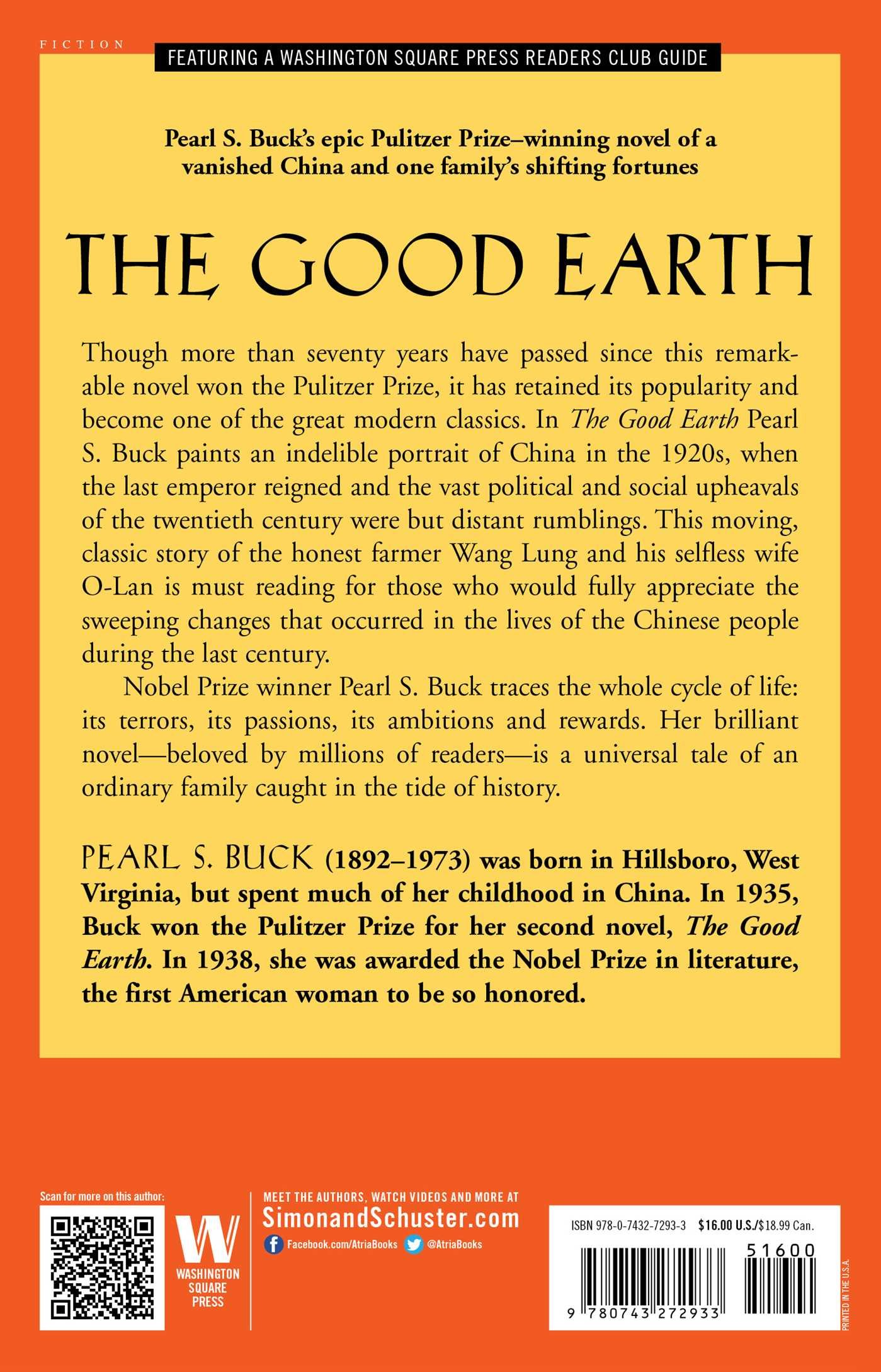 the good earth oprah s book club pearl s buck 9780743272933 the good earth oprah s book club pearl s buck 9780743272933 amazon com books