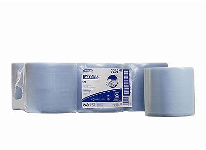 Wypall 7267 Paños Dispensación Central, 6 Rollos X 400 Paños, 1 Capa, Azul
