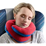 BCOZZY Chin Supporting Travel Pillow - Supports the Head, Neck and Chin in Maximum Comfort in Any Sitting Position. A Patented Product. Adult Size, RED