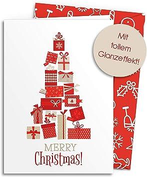 edel modern einfach /& schlicht Klappkarten mit Umschlag Set Rot 2019 Design Merry Christmas Freunde /& gesch/äftlich 10 Weihnachtskarten mit GLANZEFFEKT inkl farbigen Umschl/ägen F/ür Familie
