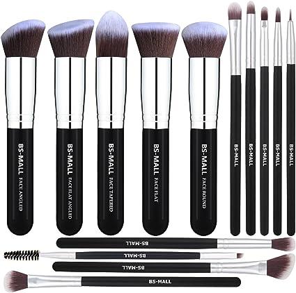 BS-MALL - Juego de brochas de maquillaje (14 unidades), color plateado y negro: Amazon.es: Belleza