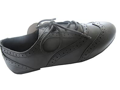 G2s Girls Black Lace Up Brogue Detail Smart School Shoe Amazon Co