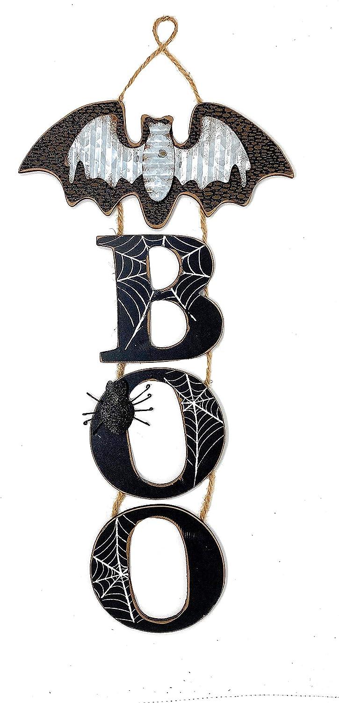 """D. I. Inc Boo Bat Halloween Decoration Sign Wall Front Door Wreath Window Hanging Wood Metal Rustic Decor Indoor Outdoor 20"""" x 10"""""""