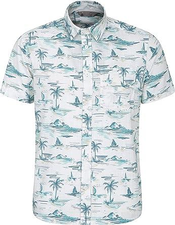 Mountain Warehouse Camisa de Manga Corta Hawaiana para Hombre - Ligera, Transpirable, Suave y con Estampado elaborado - para Viajes, excursiones, picnics y barbacoas: Amazon.es: Ropa y accesorios