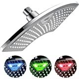 DreamSpa 1489 AquaFan 12 inch All-Chrome Rainfall Shower-Head with Color-Changing LED/LCD Temperature Display, 12""
