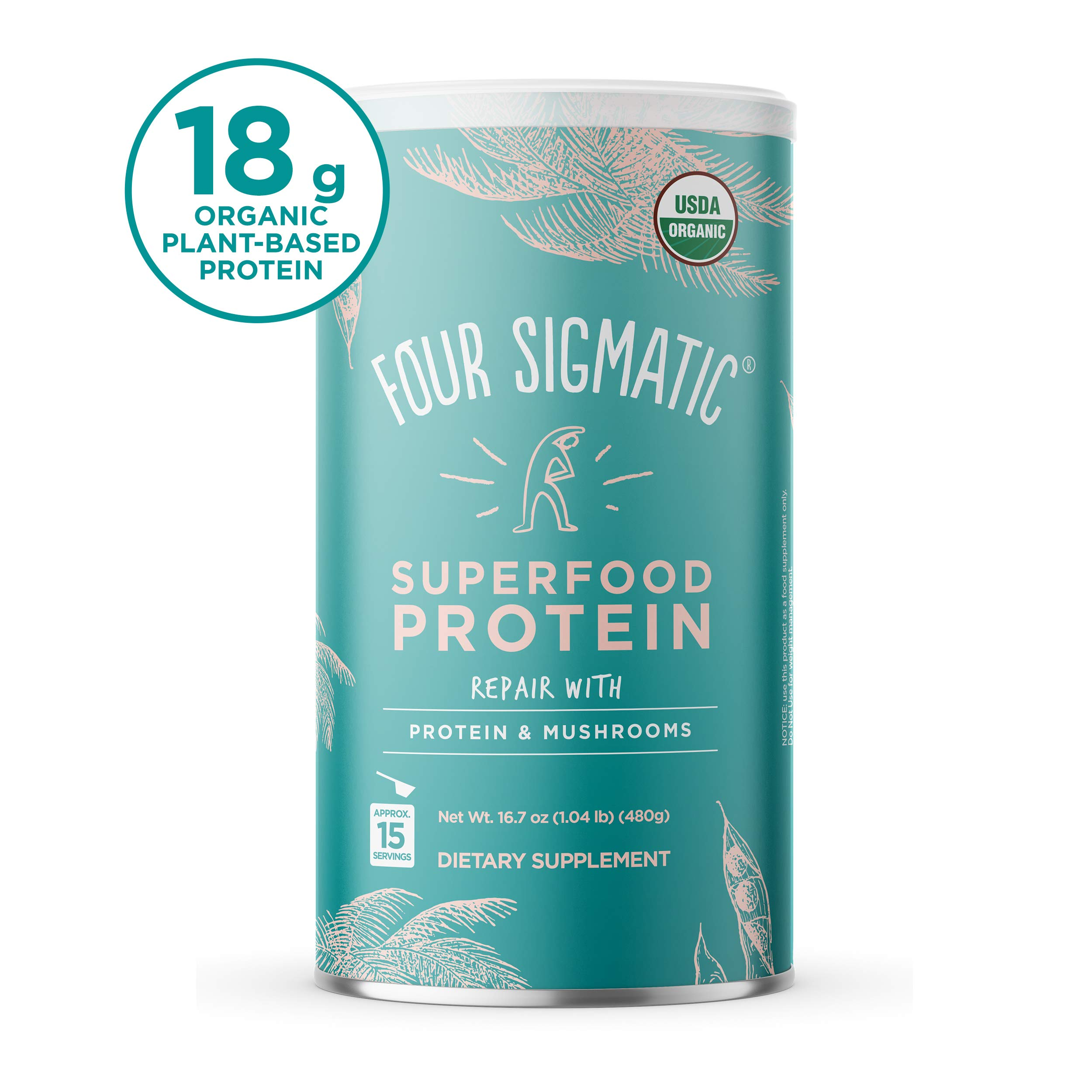 Four Sigmatic - Superfood Protein with Mushrooms & Adaptogens, Natural Plant Based Protein, Vegan, Dairy-Free, Gluten-Free, No Fillers or Gums, 16.7 Oz, 15 Servings by Four Sigmatic