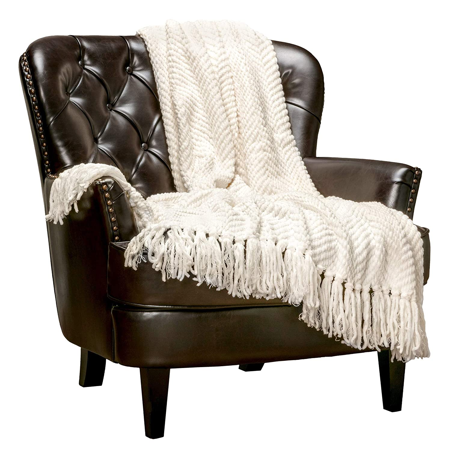 """Chanasya Textured Knitted Super Soft Throw Blanket with Tassels Warm Cozy Plush Lightweight Fluffy Woven Blanket for Bed Sofa Chair Couch Cover Living Bed Room Off White Throw Blanket(50""""x65"""")- Cream"""