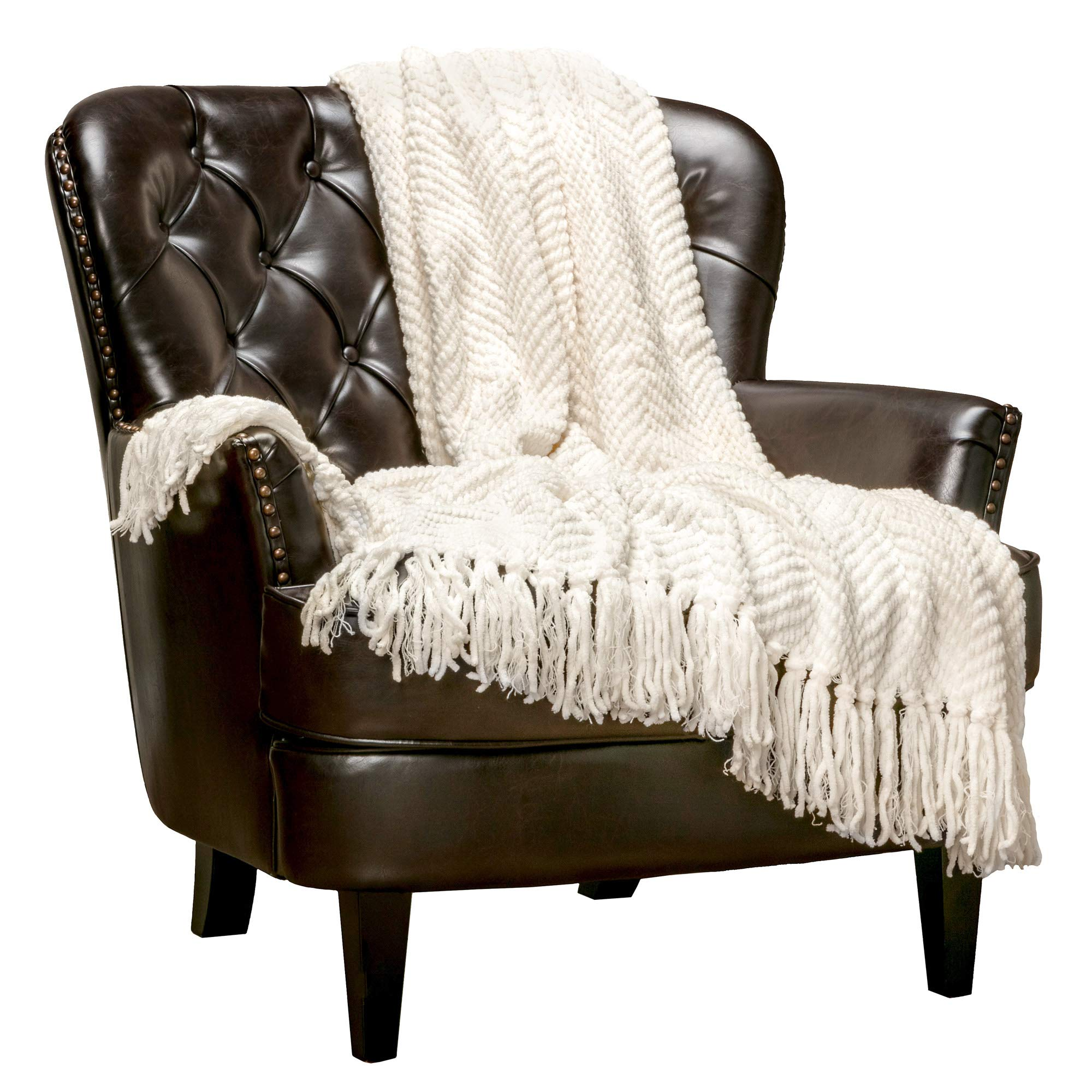Chanasya Textured Knitted Super Soft Throw Blanket with Tassels Warm Cozy Plush Lightweight Fluffy Woven Blanket for Bed Sofa Chair Couch Cover Living Bed Room Off White Throw Blanket (50x65)- Cream by Chanasya