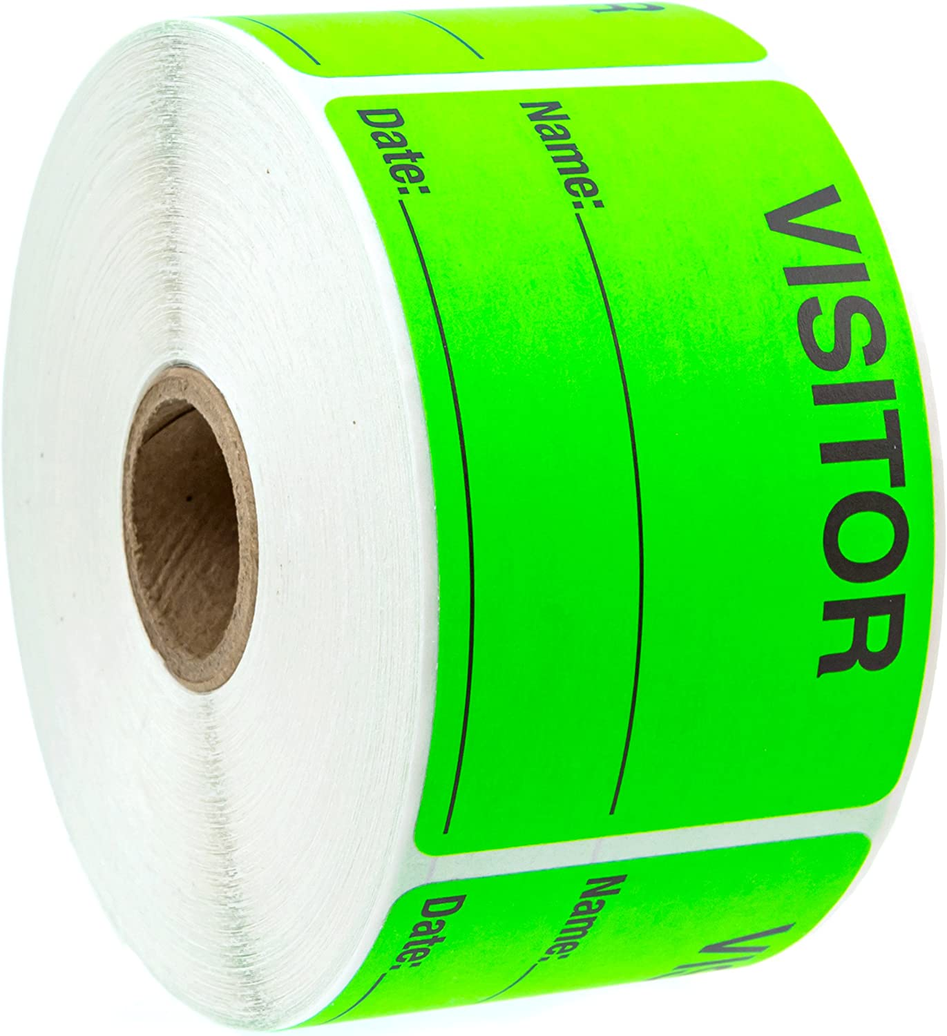 Green Visitor Pass//500 Fluorescent Green Visitor Identification Labels Stickers