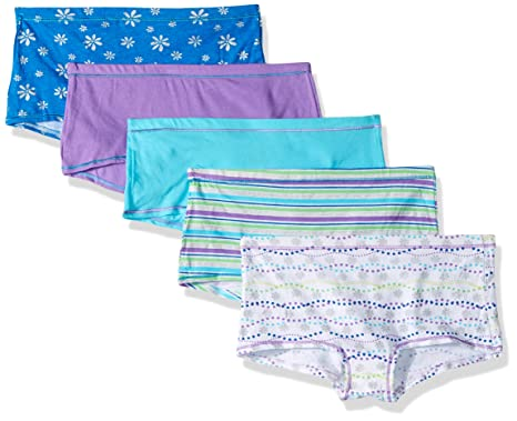 50958ff42d3 Hanes Ultimate Girls' 5-Pack Cotton Stretch Boy Short Panties, assorted, ...