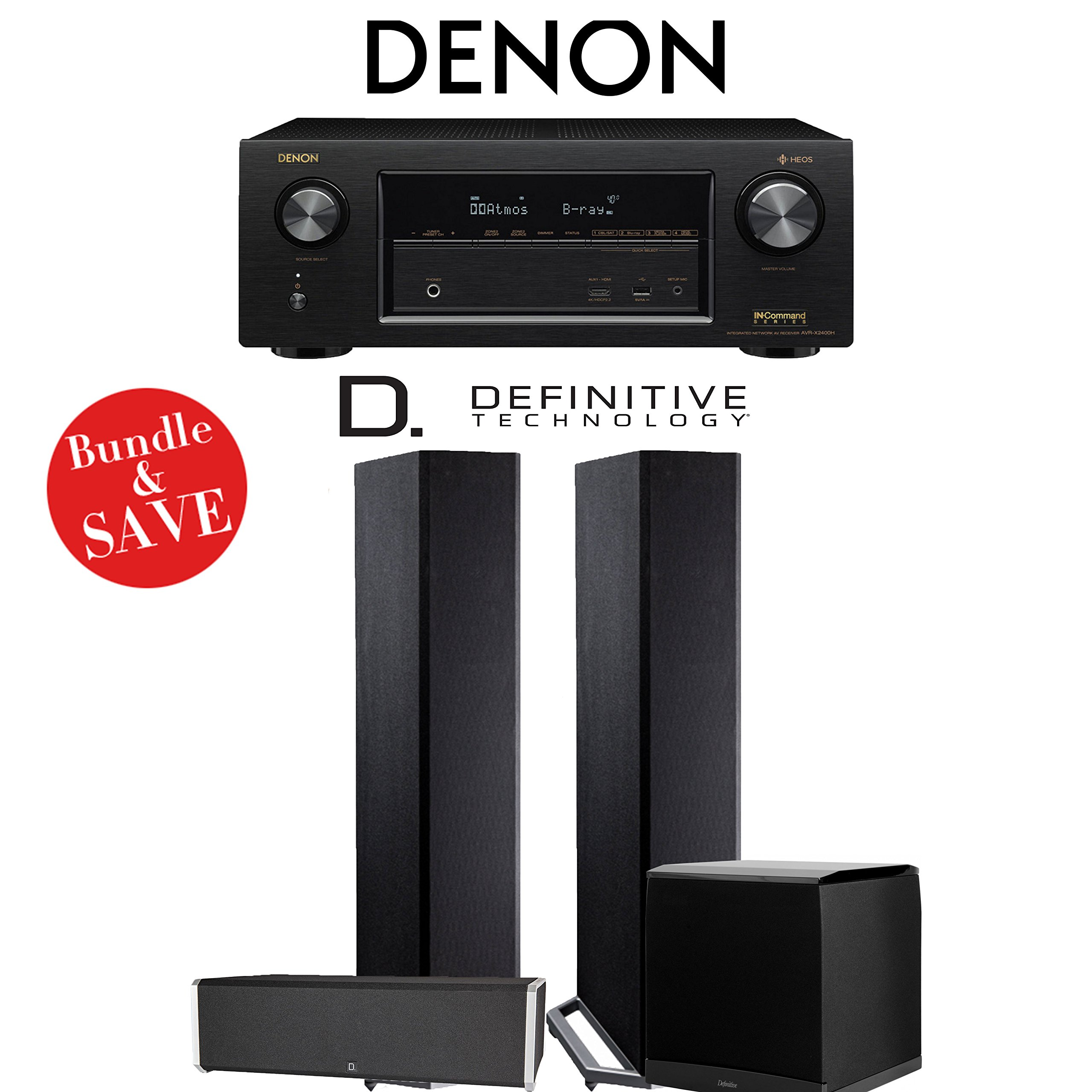 Denon AVRX2400H 7.2 Channel Network A/V Receiver + Definitive Technology BP9020 + Definitive Technology CS9040 + Definitive Technology SuperCube4000 - 3.1-Ch Home Theater Package